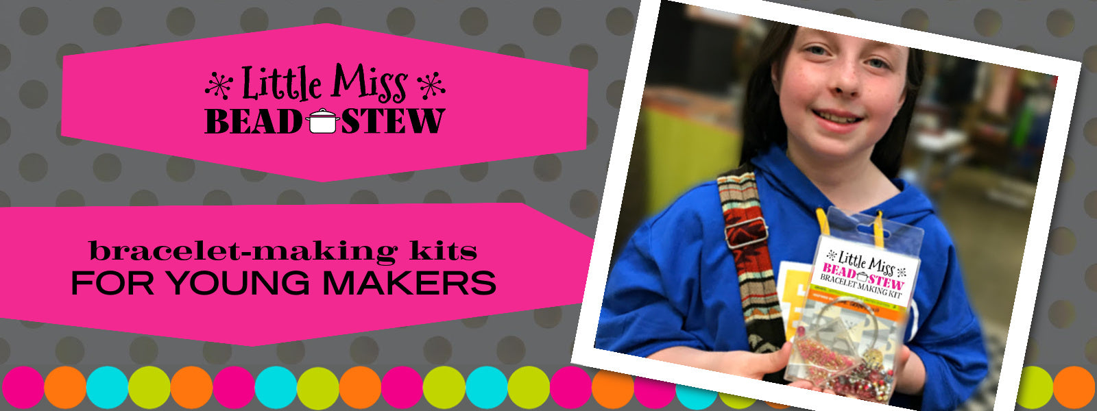 """Our BEAD STEW kid's bracelet making kits are perfect for """"Little Miss"""" jewelry makers. The bead and color combinations ensure it's easy to create the bangle-style bracelet."""