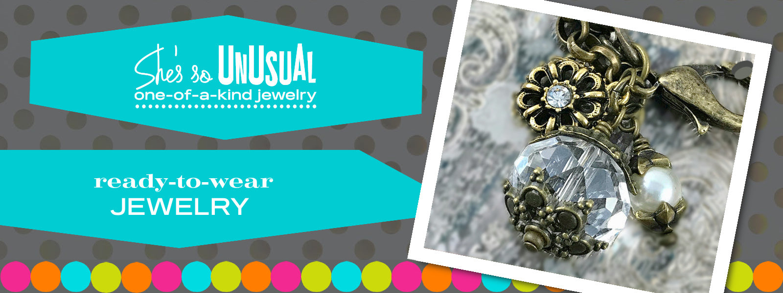 """Suzie Q Studio's """"Suzie Q Luxe"""" is a collection of unique pieces of jewelry created as jewelry-making class samples from 2002-2017. Most of the pieces are one-of-a-kind, utilizing beads and custom components that are no longer available."""
