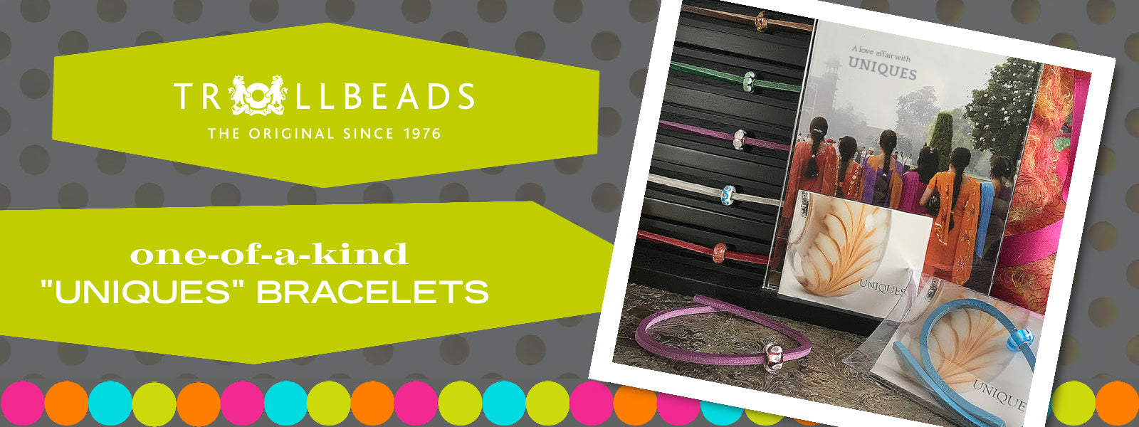 Trollbeads UNIQUES are one-of-a-kind glass beads handmade individually by 100% artisan-owned workshops in India and Lithuania. The one-of-a-kind UNIQUES glass beads offered at Suzie Q Studio also include a colour-coordinated Trollbeads leather bracelet.