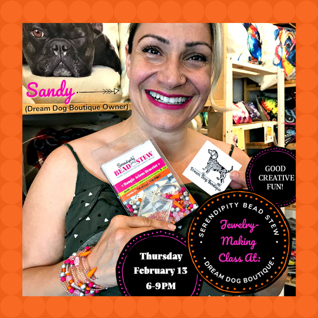 "Suzie Q Studio is offering BEAD STEW DIY jewelry-making classes at Dream Dog Boutique in Calgary. We'll also be adding other venues as well as offering ""Private Jewelry-Making Parties"" for all kinds of occasions."