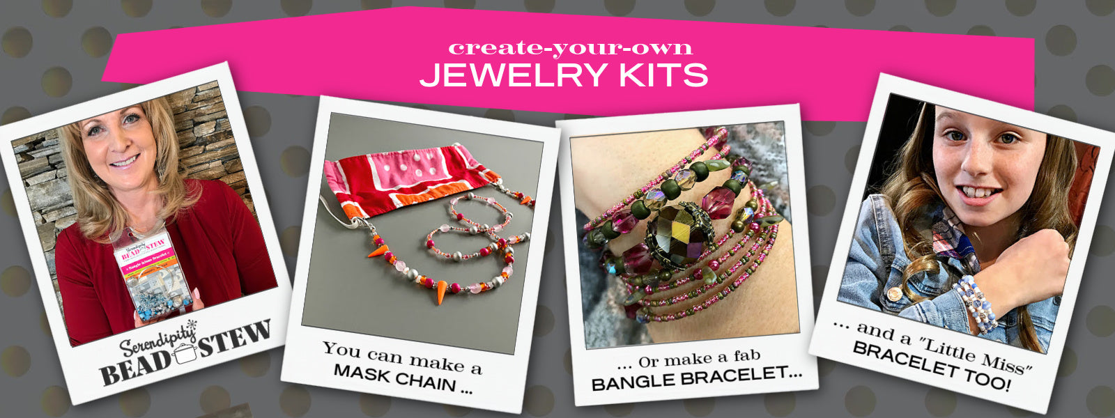 Suzie Q Studio's Serendipity BEAD STEW DIY BRACELET / MASK CHAIN KITS and LITTLE MISS KITS are Limited Edition collections of premium-quality beads and components for you to make a bracelet or mask chain. No experience needed!