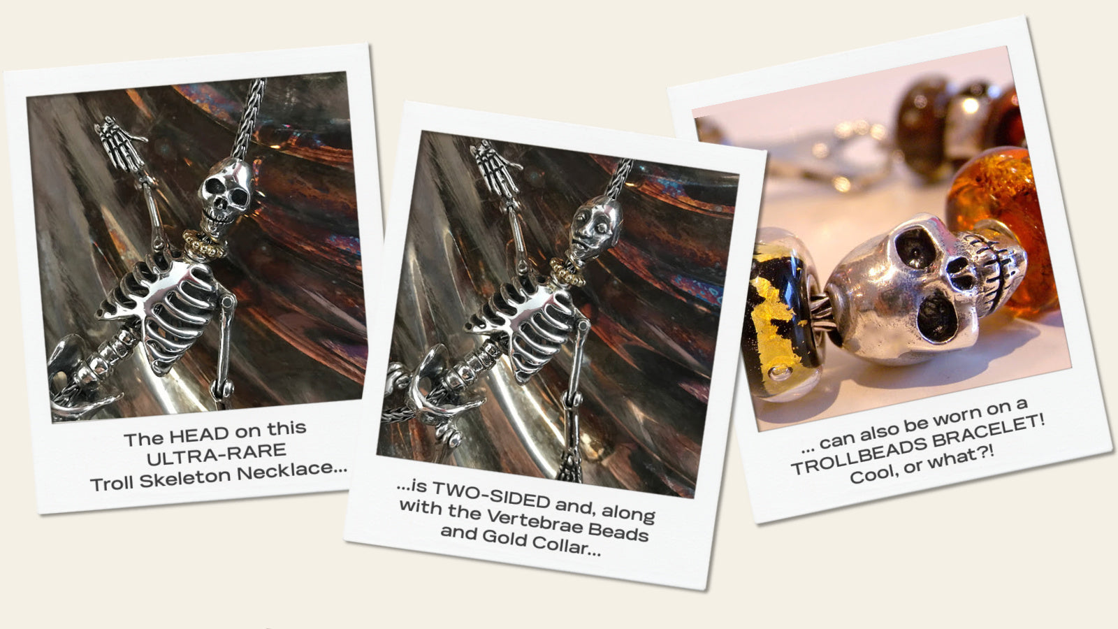 """Suzie Q Studio has stashed away special glass, sterling silver and limited edition Trollbeads pieces in the Suzie Q Studio """"Trollbeads Treasure Vault"""". Here she talks about the ultra-rare Trollbeads Skeleton Necklace."""