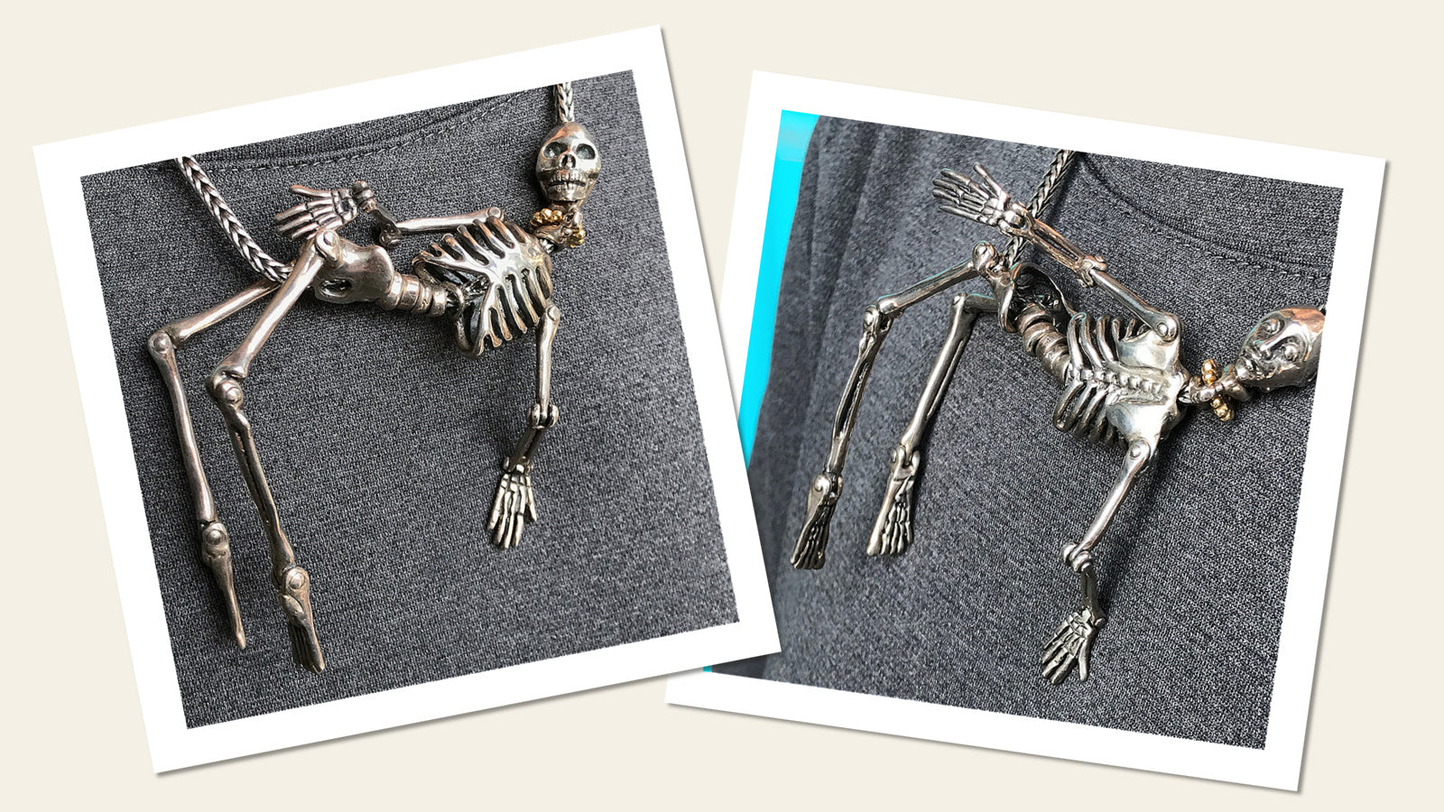 You might think this Suzie Q Studio rare Trollbeads Skeleton necklace has an eerie look, but because it is fully articulated with all the limbs moving independently, it always seems to hang playfully. It's definitely a piece of jewelry that everyone will notice.