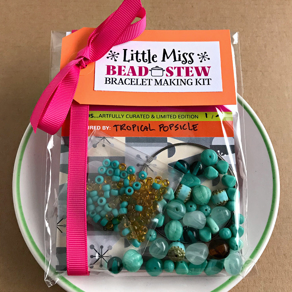 "These BEAD STEW kids bracelet making kits are perfect for ""Little Miss"" jewelry makers. The bead and color combinations in our children's bracelet making kits are so unique and ultra-special, there is no wrong or right way to add the beads to the ""memory"" bracelet wire. It's fun and easy. No experience is necessary!"
