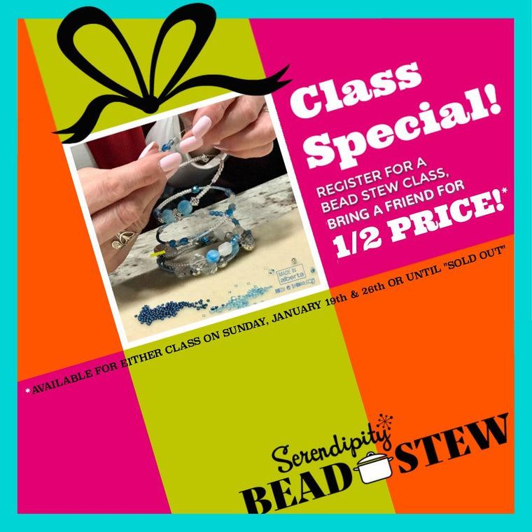 "Suzie Q Studio is offering a ""Bring a Friend for Half Price"" class special for our bracelet making class at A & B Fiberworks in Calgary on Sunday, January 26,1-4pm. We use our easy BEAD STEW jewelry-making kits so no experience is necessary to make a fabulous bangle-style bracelet. Book online at suzieqstudio.com."