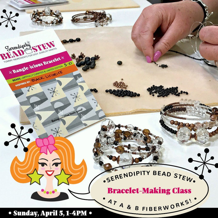 Suzie Q Studio is offering our Serendipity BEAD STEW bracelet making class at A & B Fiberworks in Calgary on Sunday, April 5, 2020, 1-4pm. We use our easy BEAD STEW jewelry-making kits so no experience is necessary to make a fabulous bangle-style bracelet! Book online at suzieqstudio.com.