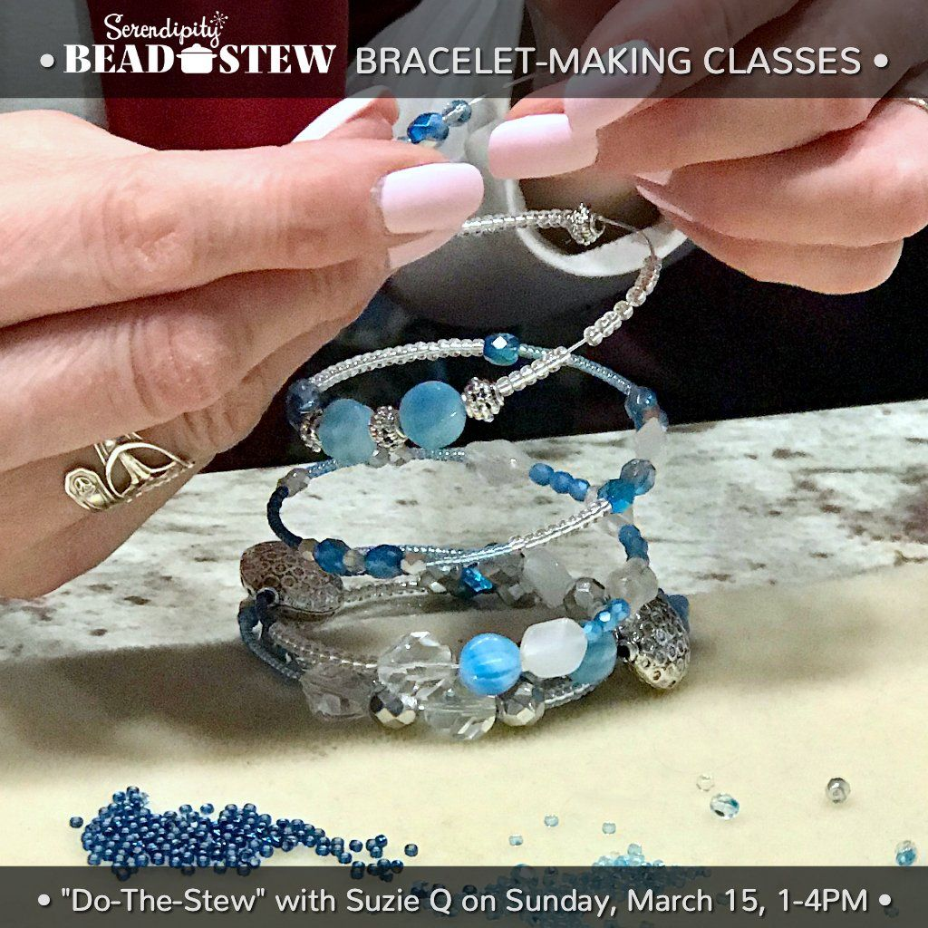 Suzie Q Studio is offering our Serendipity BEAD STEW bracelet making class at A & B Fiberworks in Calgary on Sunday, March 15, 2020, 1-4pm. We use our easy BEAD STEW jewelry-making kits so no experience is necessary to make a fabulous bangle-style bracelet! Book online at suzieqstudio.com.