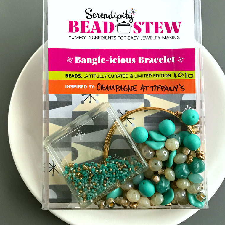 Suzie Q Studio's Serendipity BEAD STEW DIY EASY BANGLE STYLE BRACELET MAKING KITS are limited edition collections of artfully curated premium quality beads and components for you to make a one-of-a-kind bracelet that'll have that super-cool look of multiple bangles stacked on your wrist. No experience needed!