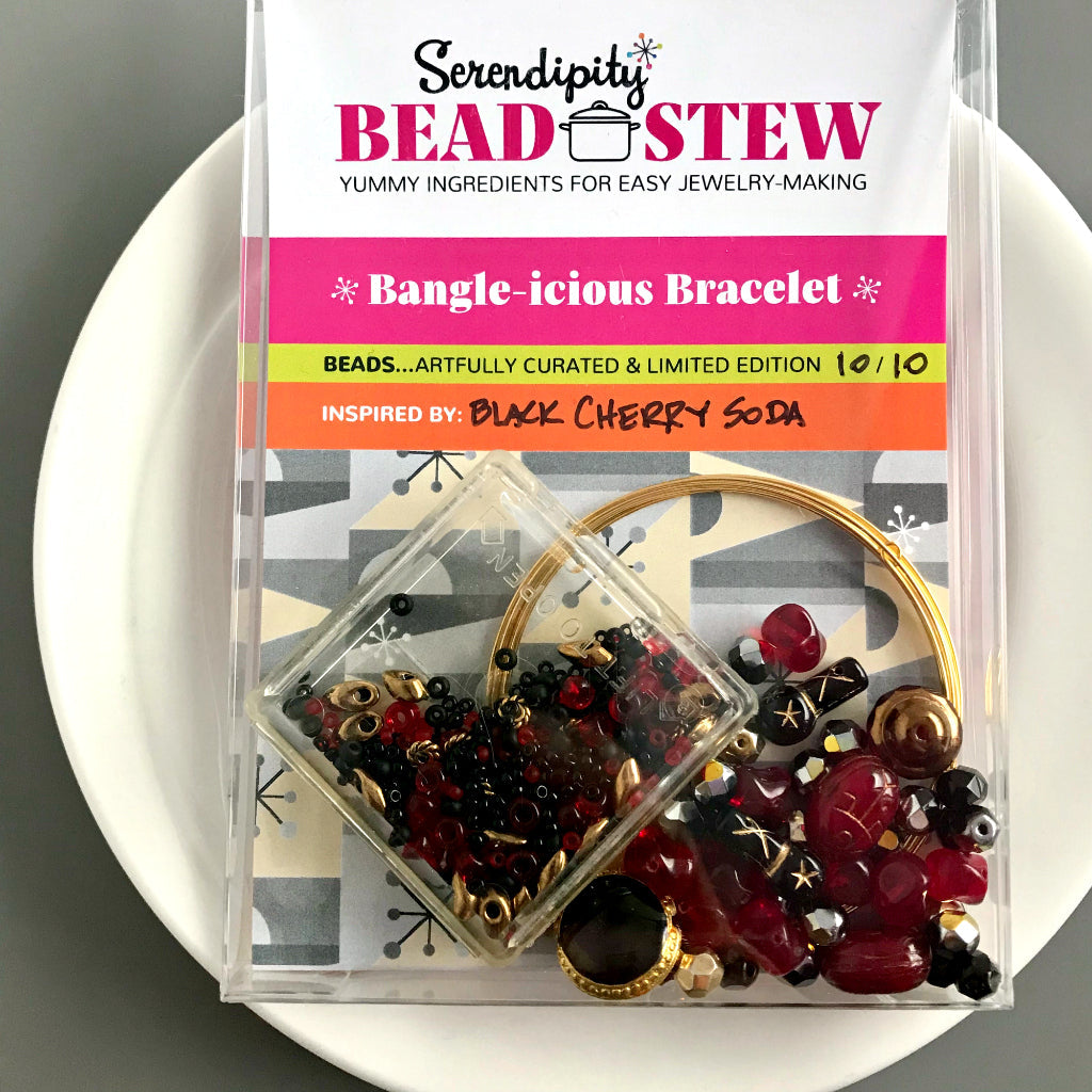 "Suzie Q Studio's Serendipity BEAD STEW DIY EASY BANGLE STYLE BRACELET MAKING KITS are limited edition collections of artfully curated premium quality beads and components for you to make a one-of-a-kind bracelet that'll have that super-cool look of multiple bangles stacked on your wrist. No experience needed! The rich, sweet, dark and delicious flavour of classic ""Black Cherry Soda"" is the perfect way to describe the color palette in this dramatic BEAD STEW bracelet making kit."