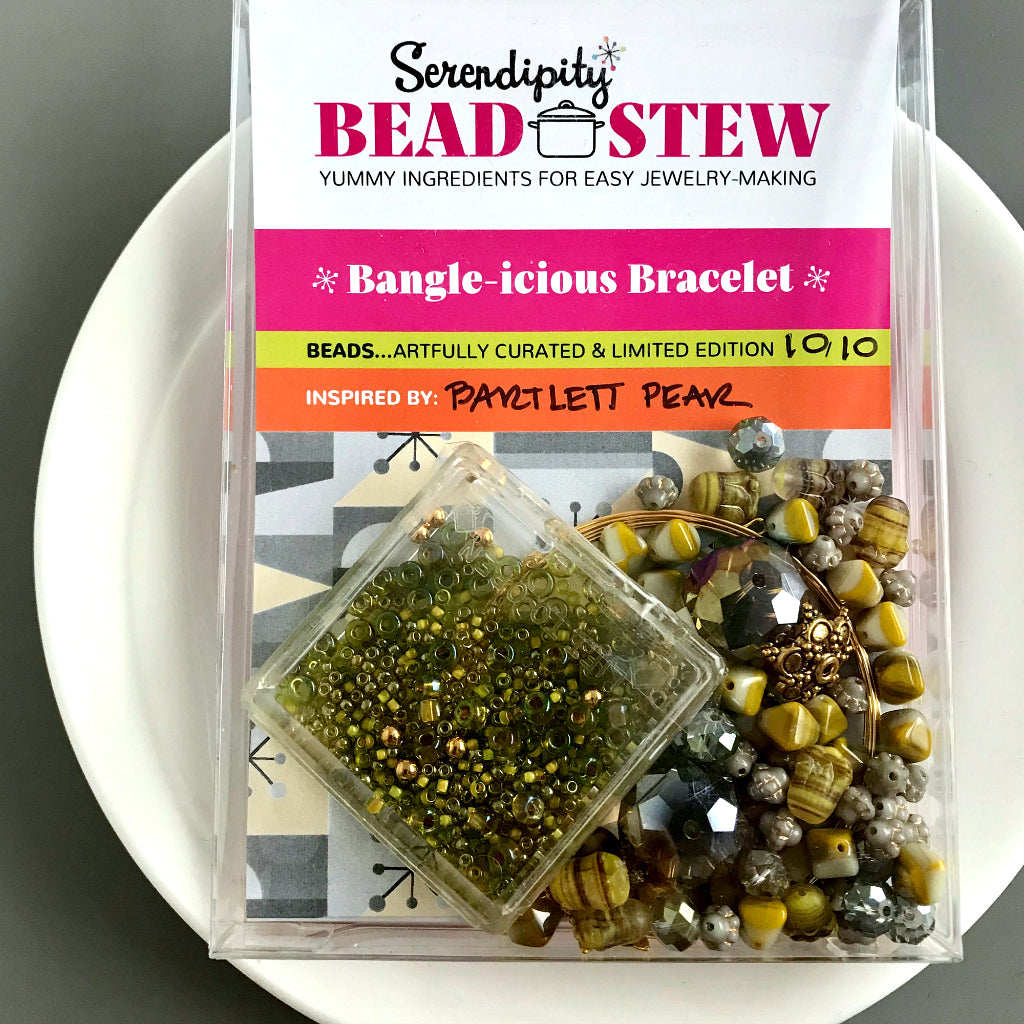 "Suzie Q Studio's Serendipity BEAD STEW DIY EASY BANGLE STYLE BRACELET MAKING KITS are limited edition collections of artfully curated premium quality beads and components for you to make a one-of-a-kind bracelet that'll have that super-cool look of multiple bangles stacked on your wrist. No experience needed! ""Bartlett Pear"" kit -- there's nothing like biting into the ripe, chartreuse-colored skin of a juicy, sweet Bartlett Pear, is there?"