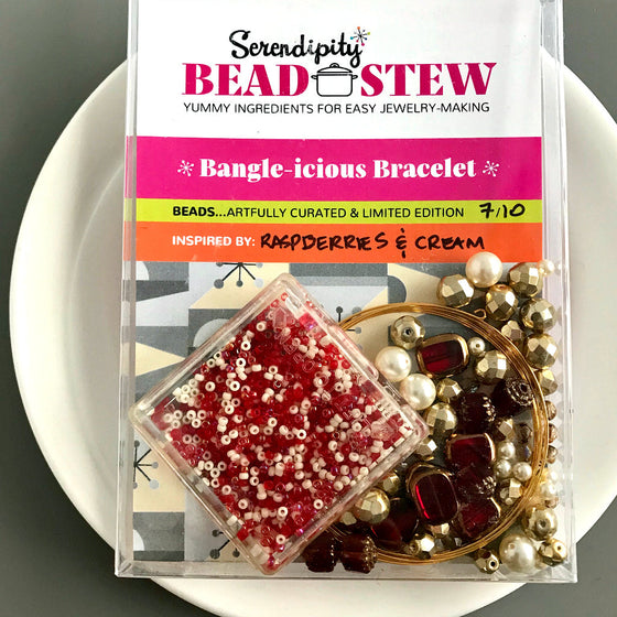 Suzie Q Studio's Serendipity BEAD STEW DIY EASY BANGLE STYLE BRACELET MAKING KITS are limited edition collections of artfully curated premium quality beads and components for you to make a one-of-a-kind bracelet that'll have that super-cool look of multiple bangles stacked on your wrist. No experience needed!  The Raspberries & Cream kit can make a bracelet that can be a down-to-earth style when paired with jeans and a t-shirt, or an ultra-elegant when worn to a formal occasion.