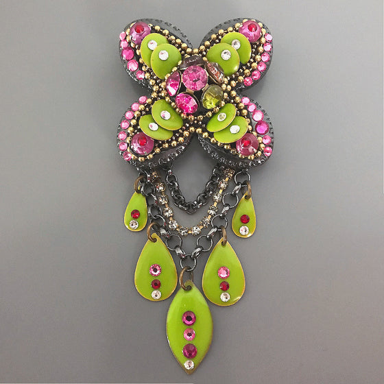 "This bold, but intricate, one-of-a-kind, handmade, mosaic-style pin is a true ""show-stopper"". The dynamic colour and sparkle of this stunning piece is certain to inspire oodles of compliments whenever you wear it!"