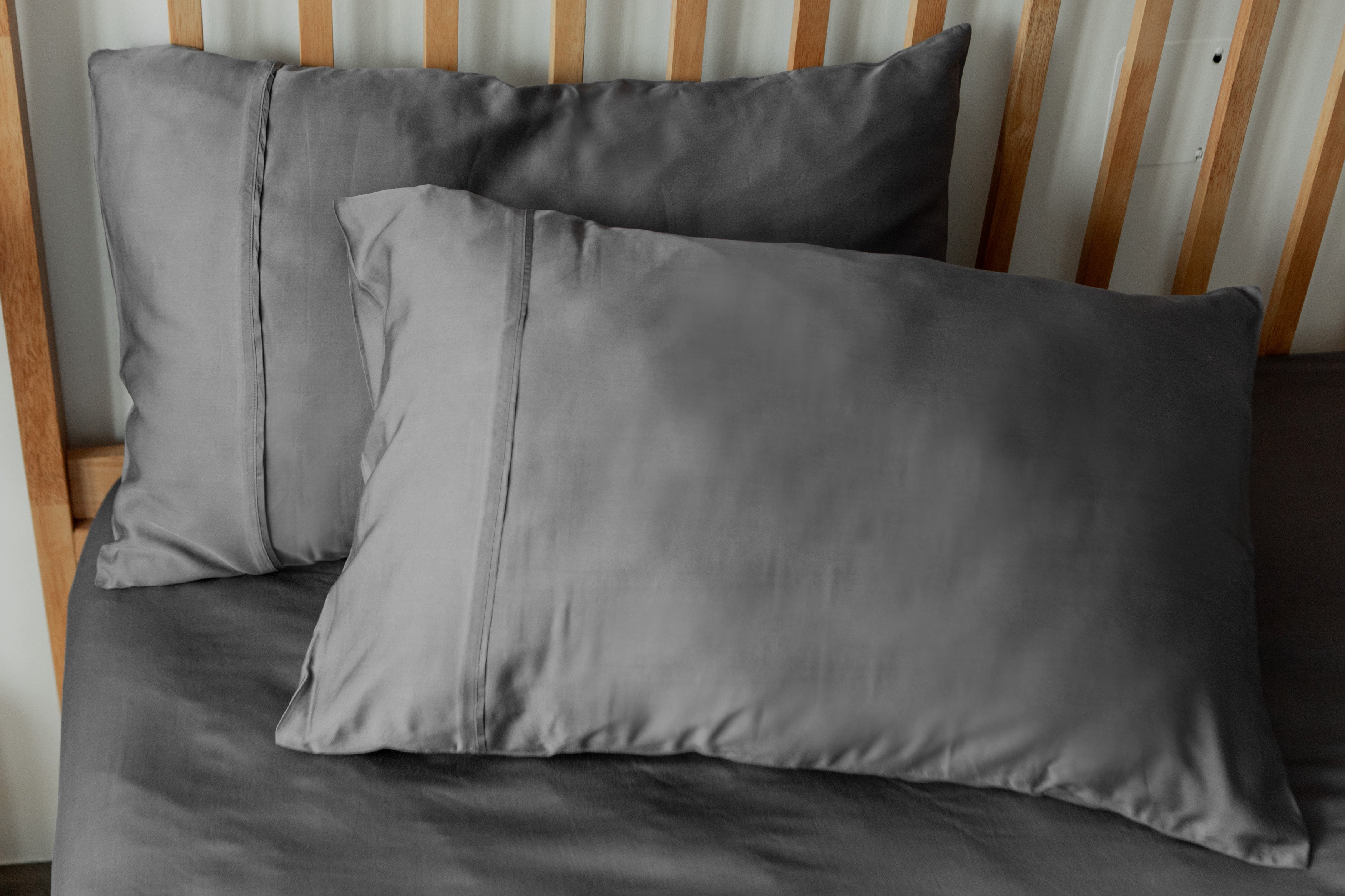 bamboo lyocell pillowcase set in slate