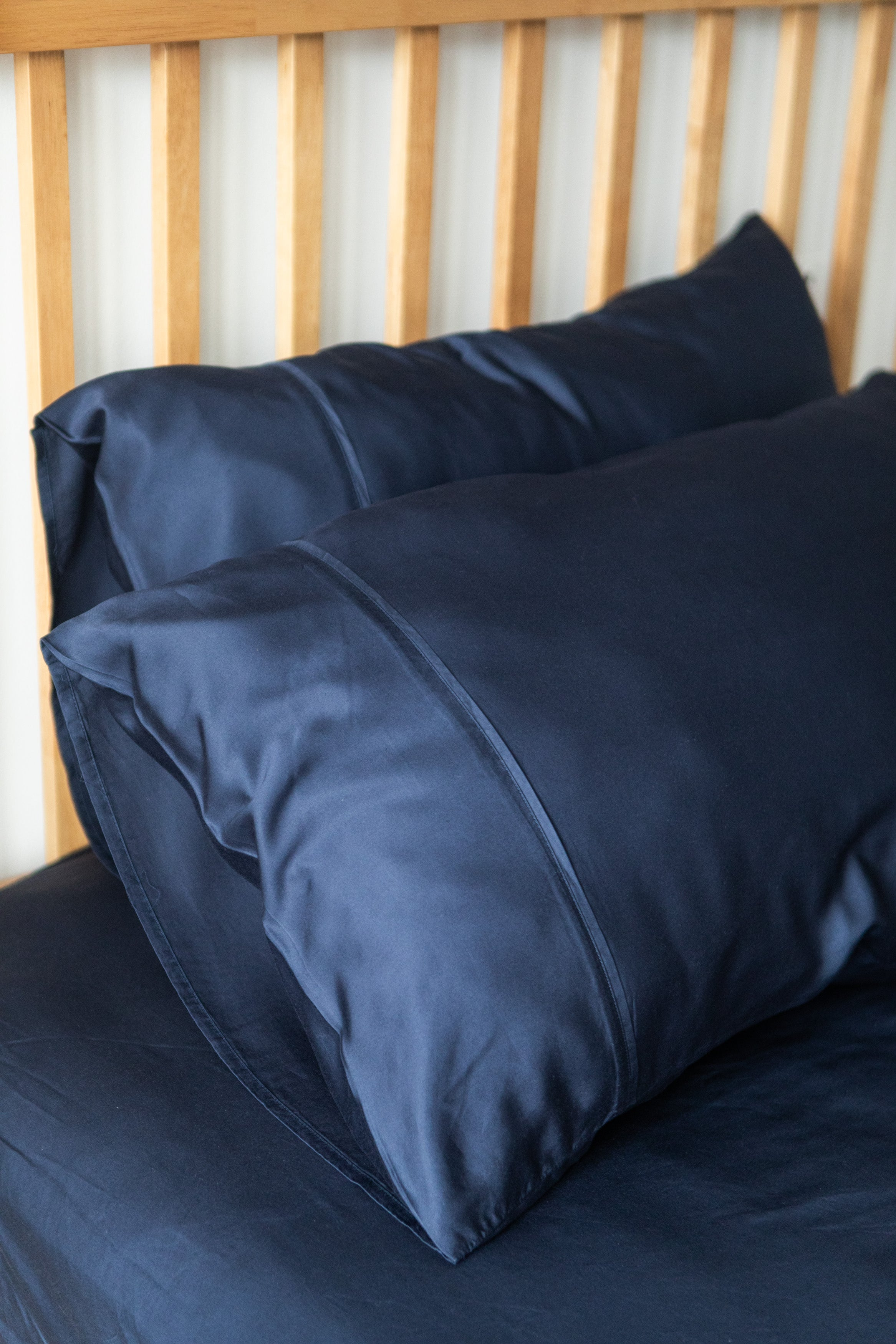 bamboo lyocell pillowcase set in deep cobalt