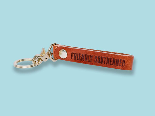 Friendly Southerner Leather Keychain