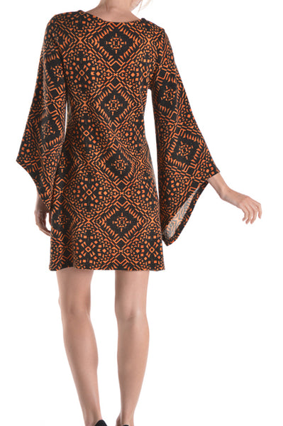 Slanted Bell Sleeve Printed Knit Dress.