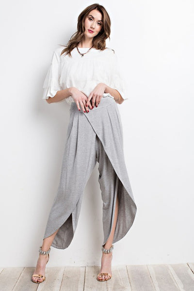 Cropped Slit Tulip Pants