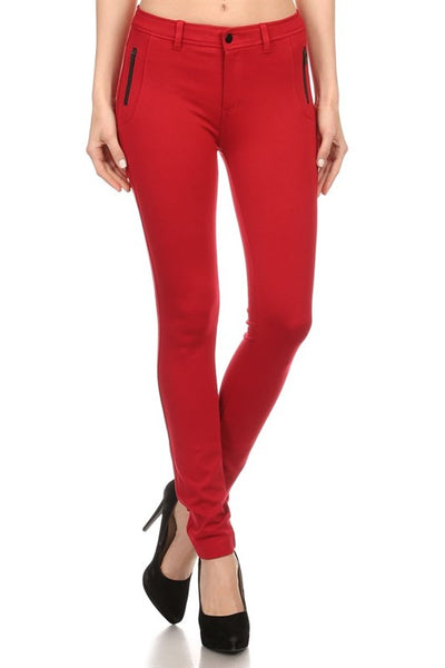 Solid pants with zipper pocket detail.