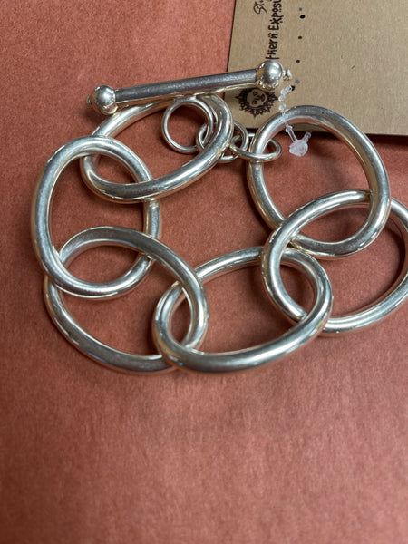 118  Big Link Chain Sterling Silver Bracelet
