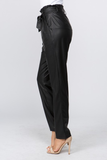 PAPER BAG WAIST FAUX LEATHER TROUSER WITH WAIST TIE. 45%PVC 55%POLYESTER.