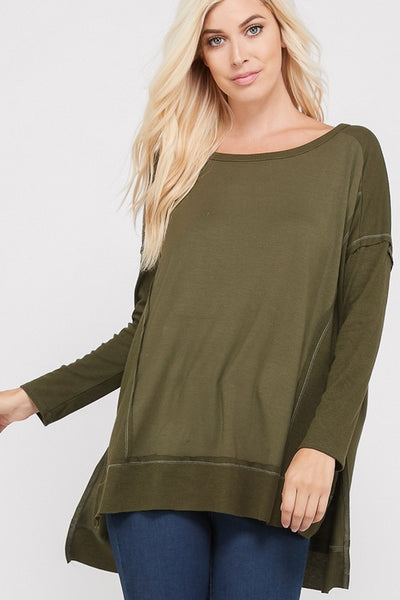 826  Long Sleeve, Thread Lining Relaxed top