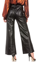 FAUX LEATHER WIDE LEGGED PANTS