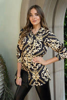 188  Chain Damask print button down long sleeve top.