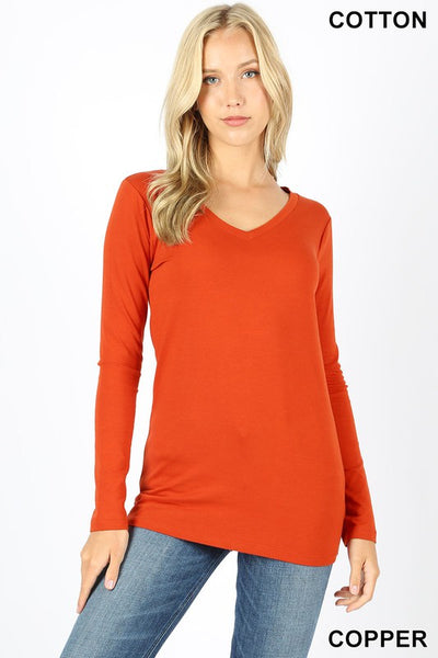 200  Cotton V Neck long Sleeve T-Shirt