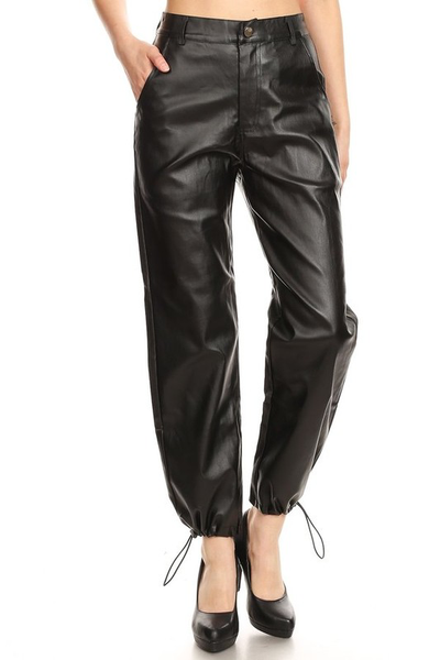708  Black Faux Leather Joggers.