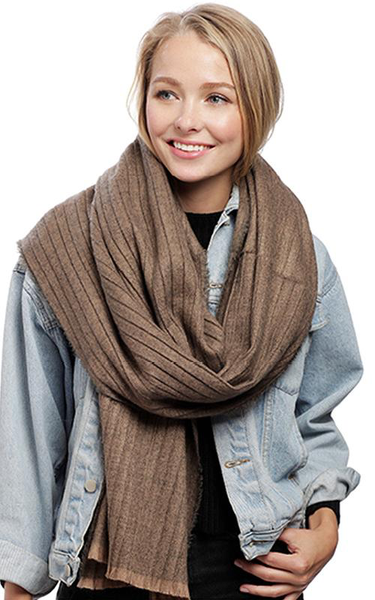 Taupe Pleats Oblong Scarf BASC7209