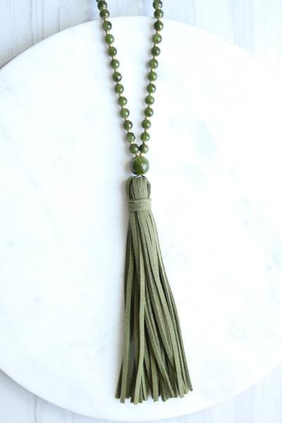 Round Glass Bead Necklace with suede Tassle
