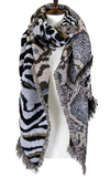 428  Mixed Animal Pattern Oblong Scarf