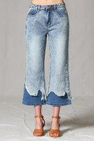 Double layer distressed hem flare jean pants