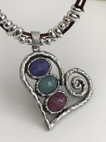 Heart Necklace with stones.