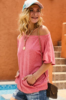 Short Sleeve One Shoulder basic Simple Tunic Top