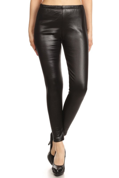 Faux Leather  Fur Lined Leggings