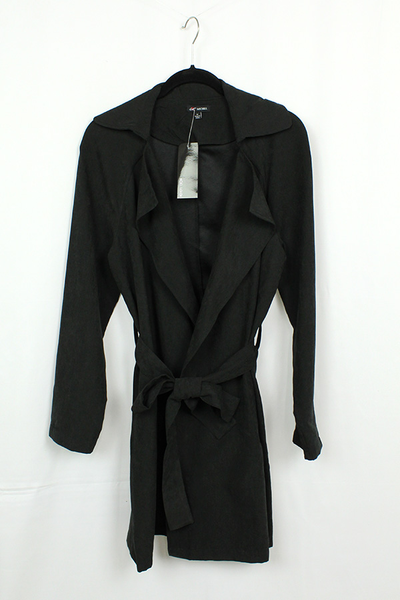 Faux Suede Trench Coat.