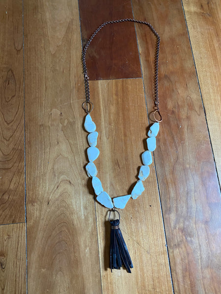 White Magnesite Copper And leather necklace