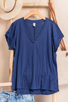Vintage garment washed V neck T-shirt