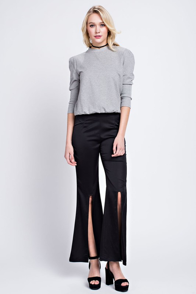Silky High Front Slit Flare Pants