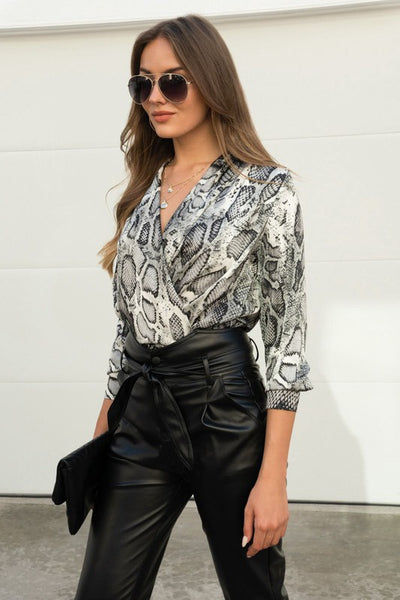 805  Italian Long sleeve draped crossover blouse