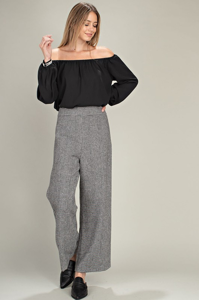 799  HOUNDS TOOTH WIDE LEG PANTS.