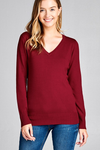 Long Sleeve Pullover V Neck Ribbed Basic Sweater.