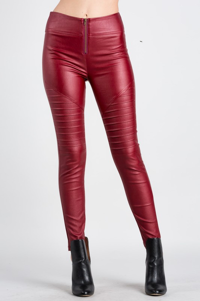 Faux leather moto  leggings.
