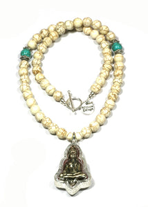 Heaven Eleven - White Stone Necklace with Buddha Talisman, 50cm