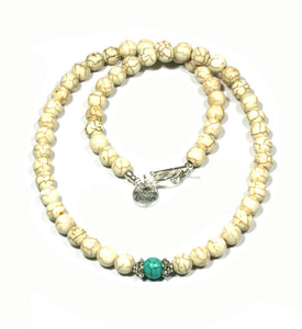 Heaven Eleven - White Stone Necklace with Turquoise Bead, 50cm