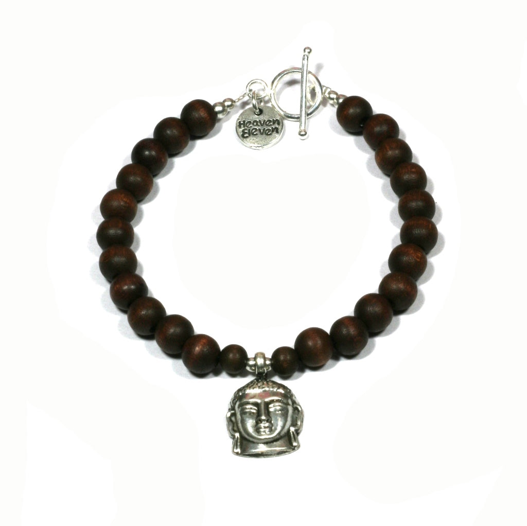 Heaven Eleven - Wooden Balls Bracelet with Buddha Head, 22cm for Men