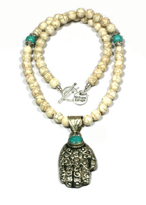 Heaven Eleven - White Stone Necklace with Buddha Hand, 50cm