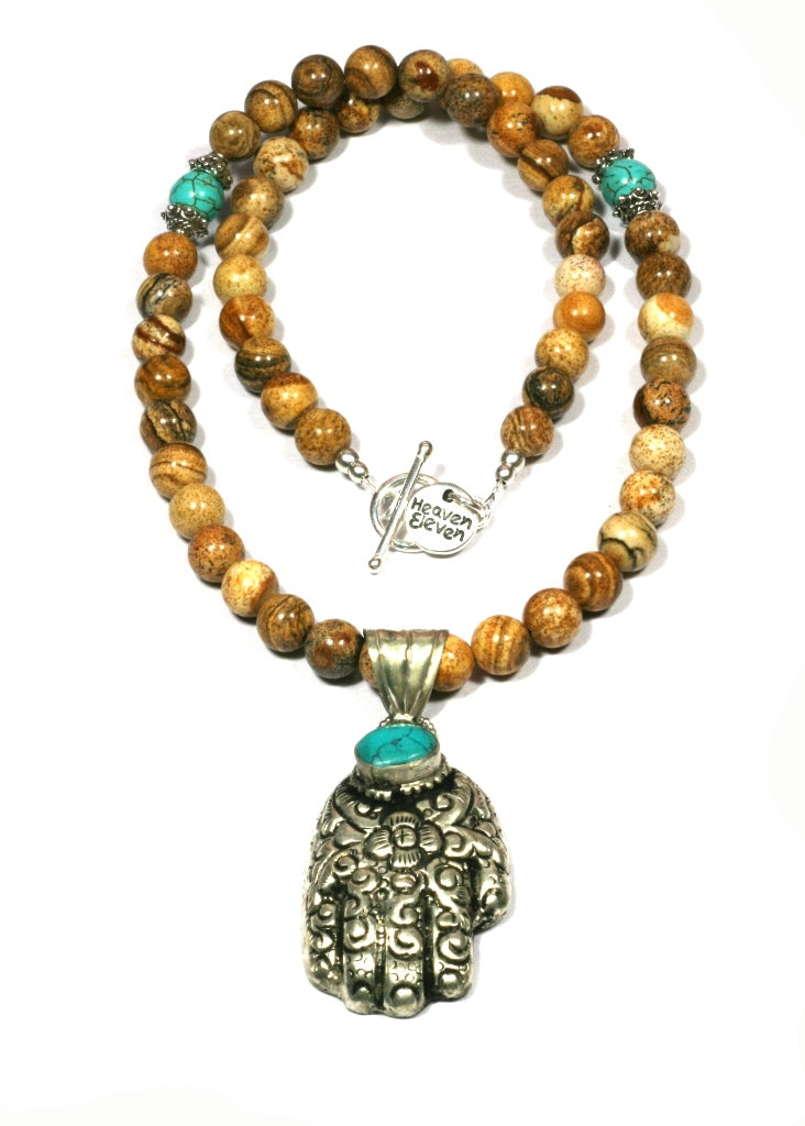 Heaven Eleven - Tigereye Stone Necklace with Buddha Hand, 50cm