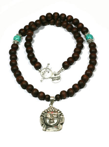 Heaven Eleven - Wooden Balls Necklace with Buddha Head, 50cm